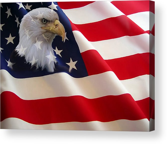 Nature Eagles American Flag Acrylic Print featuring the photograph The Eagle Flag by Evelyn Patrick
