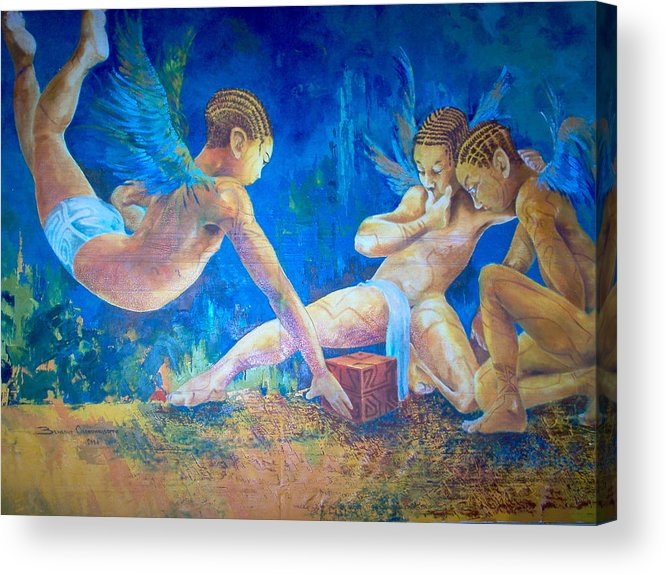 Oils Life African Art Male Figures Acrylic Print featuring the painting The Gathering by Benedict Olorunnisomo