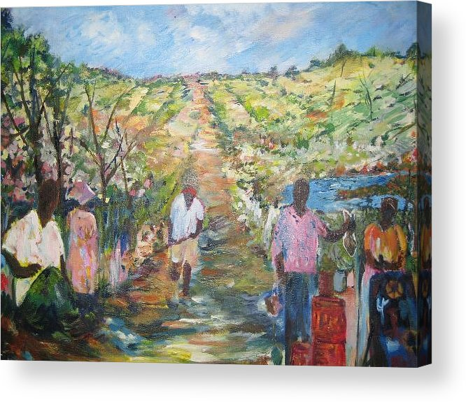 Folk Acrylic Print featuring the painting The Harvest by Impressionist FineArtist Tucker Demps Collection