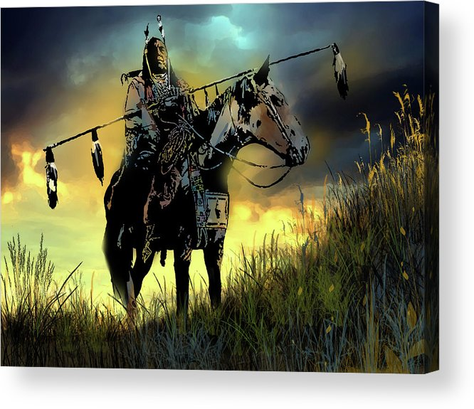 Native Americans Acrylic Print featuring the painting The Last Ride by Paul Sachtleben