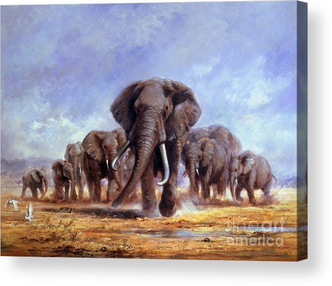 African Elephants Acrylic Print featuring the painting The Leader by Silvia Duran