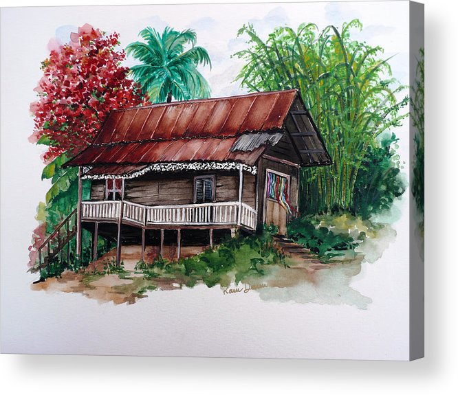 Tropical Painting Poincianna Painting Caribbean Painting Old House Painting Cocoa House Painting Trinidad And Tobago Painting  Tropical Painting Flamboyant Painting Poinciana Red Greeting Card Painting Acrylic Print featuring the painting The Old Cocoa House by Karin Dawn Kelshall- Best