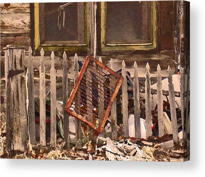 Abstract Acrylic Print featuring the photograph The Old Cooper House Front Grate by Lenore Senior