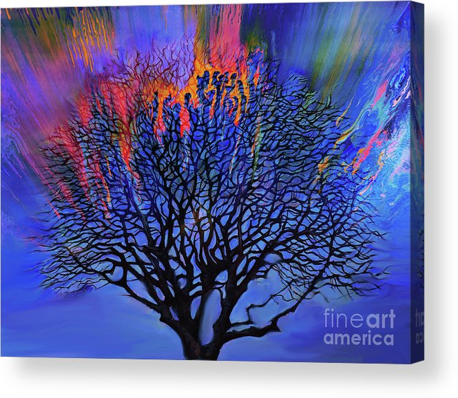 Painting Acrylic Print featuring the painting The Old Oak Tree by Gull G