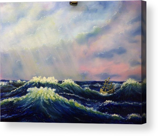Water Acrylic Print featuring the painting The Perfect Storm by Charles Vaughn