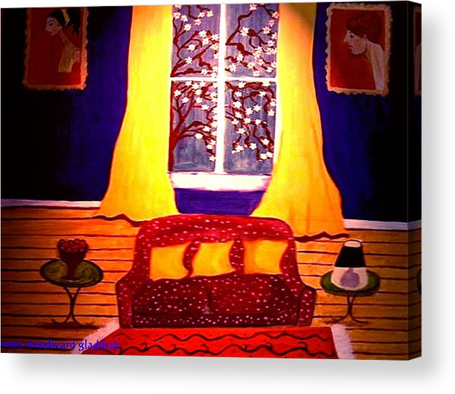 Still Life Acrylic Print featuring the painting The Polka Dot Sofa by Rusty Woodward Gladdish