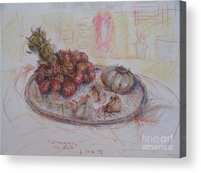 Onion Acrylic Print featuring the painting The Red Onion by Sukalya Chearanantana