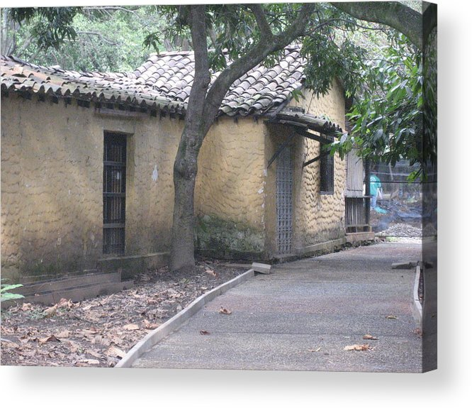 Rustic Yellow Adobe Peasant Home Acrylic Print featuring the photograph The Road Ends At Home by Ileana Carreno