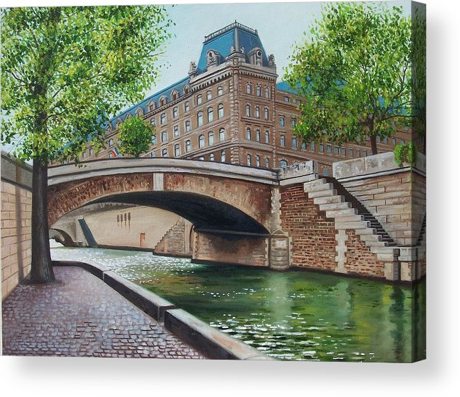 Cityscape Acrylic Print featuring the print The Seine by Arnold Hurley
