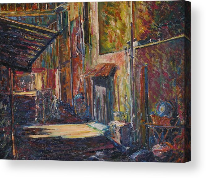 Buildings Acrylic Print featuring the painting The Shade - Kl Chinatown by Wendy Chua