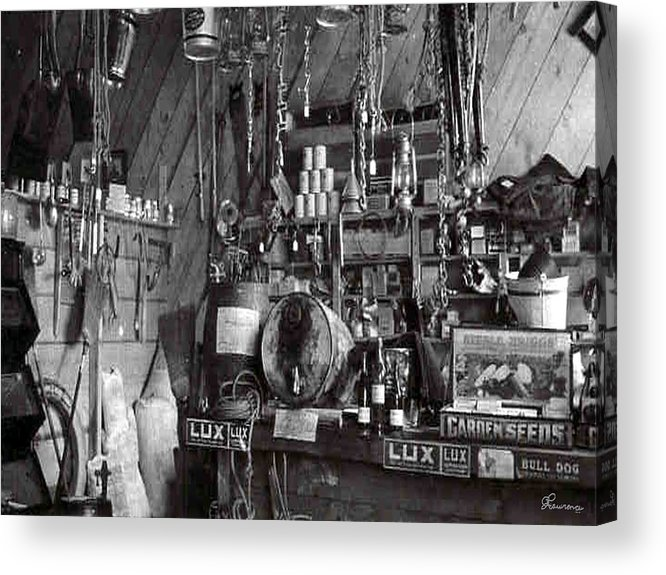 Classic Black And White Old Photo Pioneers Old Days 1900s Old Store Supplies Hardware Acrylic Print featuring the photograph The Supply Store by Andrea Lawrence