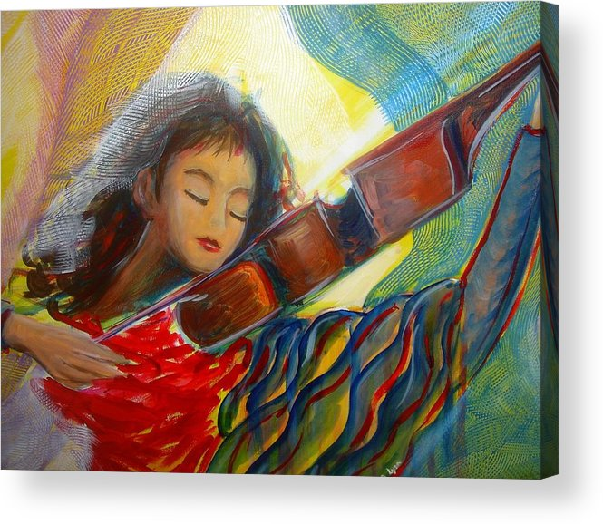 Violin Acrylic Print featuring the painting The Sweetest Sounds by Regina Walsh