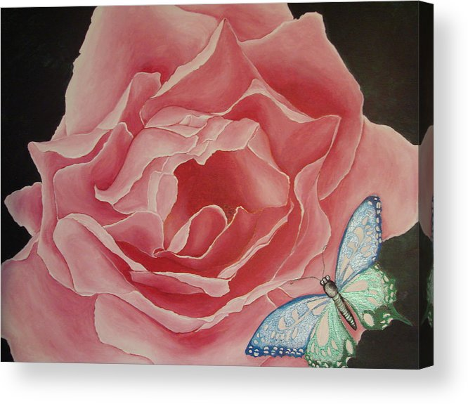Floral Acrylic Print featuring the painting The Unfolding by Glory Fraulein Wolfe