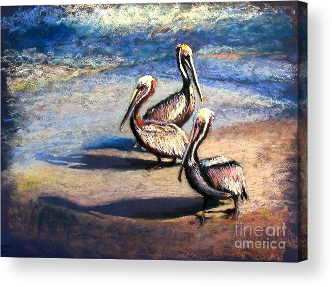 Birds Acrylic Print featuring the painting Three Amigos by Shirley Leswick