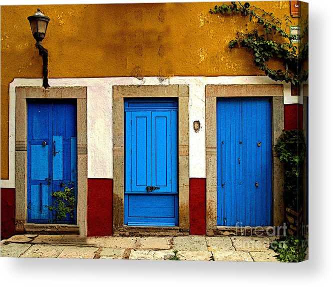 Darian Day Acrylic Print featuring the photograph Three Blue Doors 1 by Mexicolors Art Photography