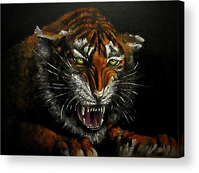 Animal Acrylic Print featuring the painting Tiger-1 Original Oil Painting by Natalja Picugina