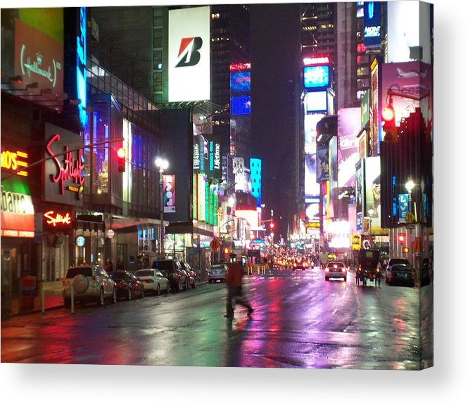 Times Square Acrylic Print featuring the photograph Times Square In The Rain 2 by Anita Burgermeister