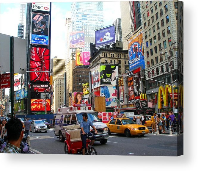 Downtown Acrylic Print featuring the photograph Times Square New York by Candace Garcia