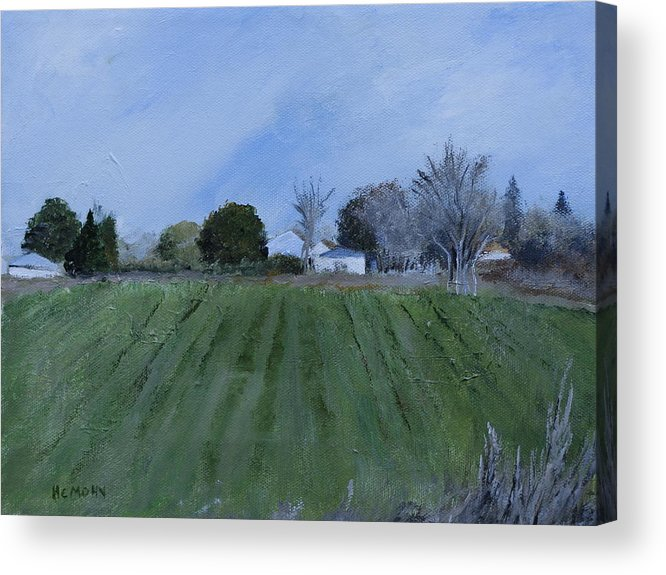 Tiverton Acrylic Print featuring the painting Tiverton Pasture by Helene Mohn