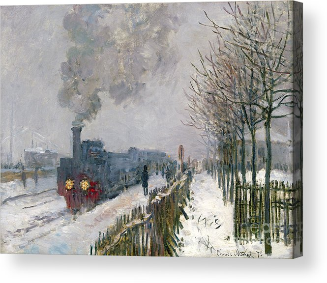 Train Acrylic Print featuring the painting Train In The Snow Or The Locomotive by Claude Monet