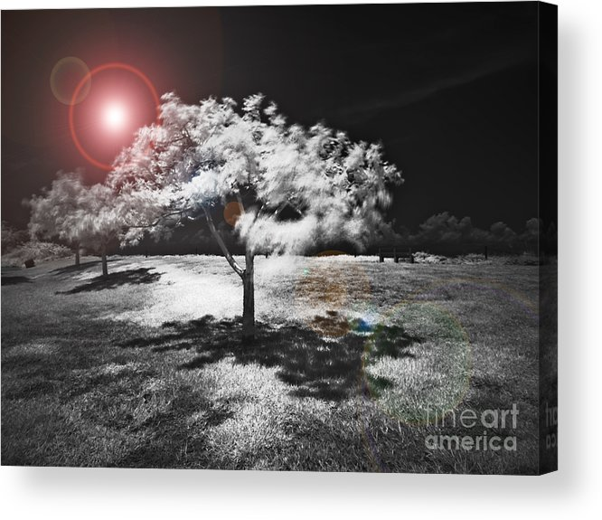 Infrared Acrylic Print featuring the mixed media Trees With Science Fiction Sky 91774031 by Rolf Bertram