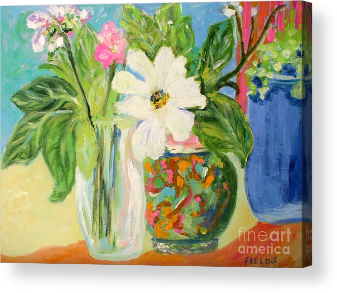 Still Life Acrylic Print featuring the painting Trio Of Vases by Karen Fields