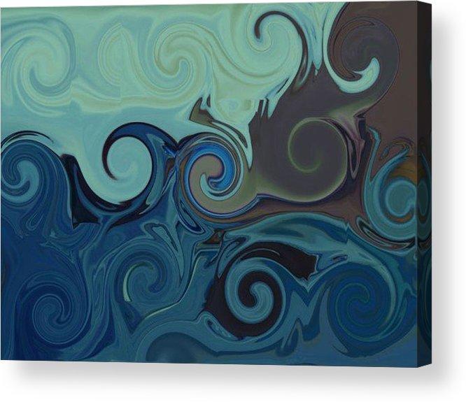 Ocean Acrylic Print featuring the digital art Trippy by Melanie Plummer
