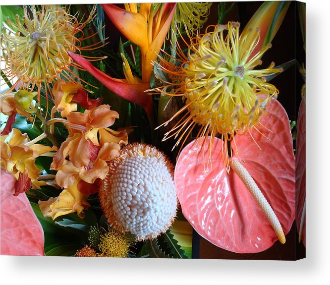 Flowers Acrylic Print featuring the photograph Tropical Bouquet by Ileana Carreno