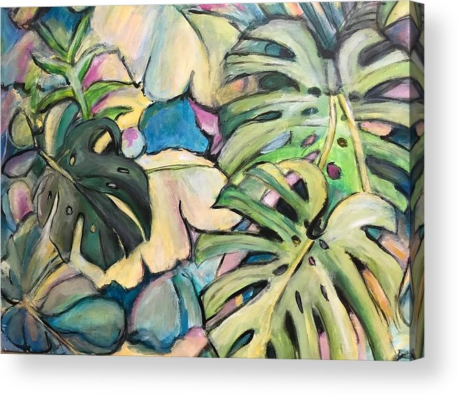 Tropical Acrylic Print featuring the painting Tropical Leaves by Denice Palanuk Wilson
