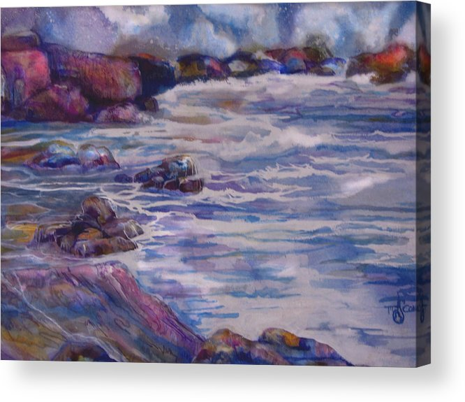 Seascape Acrylic Print featuring the painting Tug Of War by Mary Sonya Conti