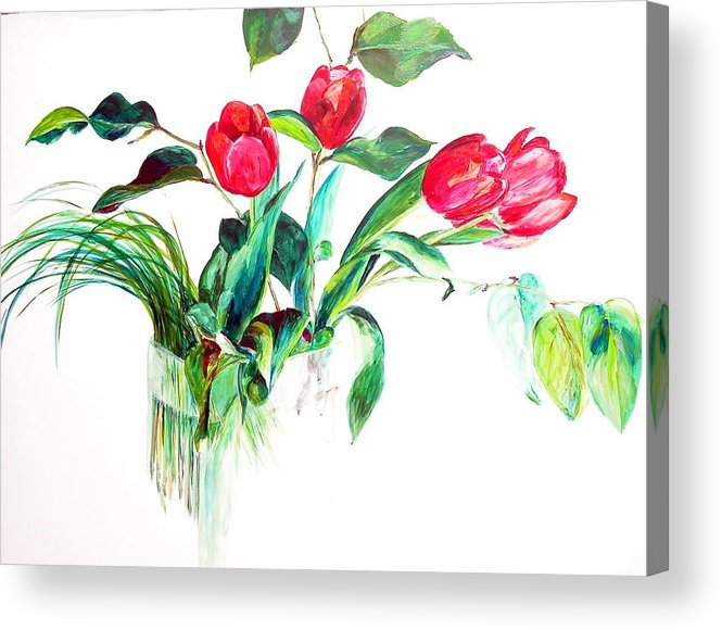 Flower Acrylic Print featuring the painting Tulipes by Muriel Dolemieux