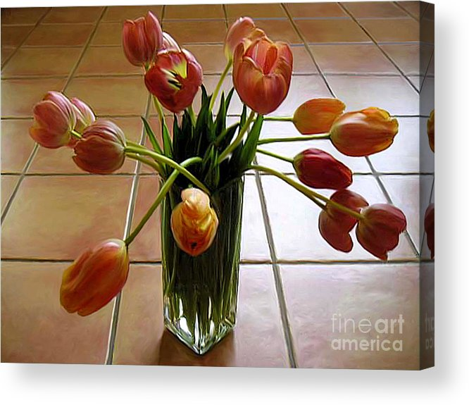 Nature Acrylic Print featuring the photograph Tulips In A Vase On Tile by Lucyna A M Green
