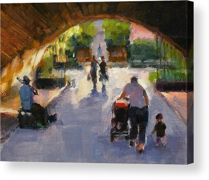 Urban Landscape Acrylic Print featuring the painting Tunnel In Central Park by Merle Keller
