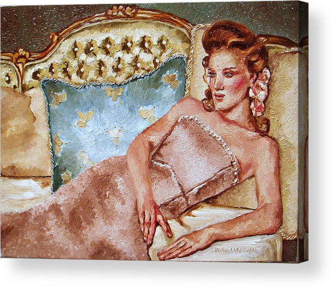Woman Acrylic Print featuring the painting Turquoise Pillow by Claudia Lardizabal