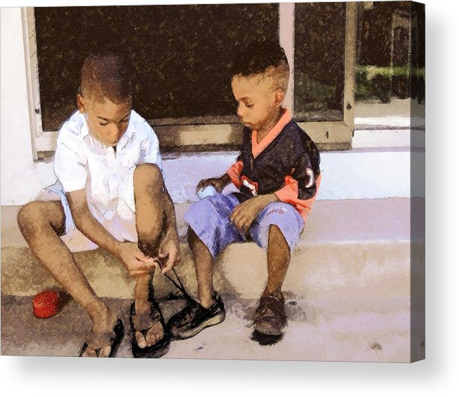 Portrait Acrylic Print featuring the photograph Tying A Knot by LeeAnn Alexander