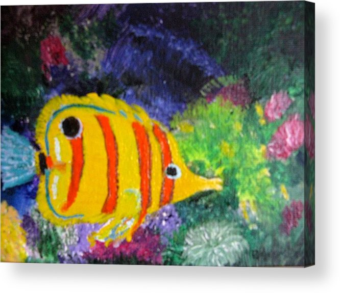 Underwater Acrylic Print featuring the painting Underwater World by Becky Giovine