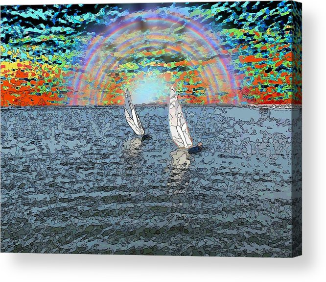 Sunset Acrylic Print featuring the digital art Unto The Sunset We Sail My Love by Tim Allen