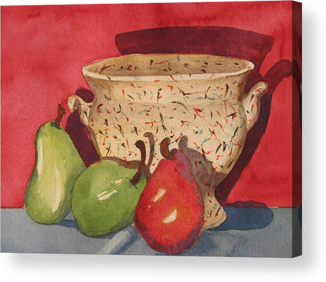 Pears Acrylic Print featuring the painting Urn With Pears by Libby Cagle