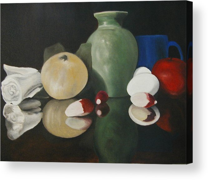 Still Life Acrylic Print featuring the painting Vase With Radishes by Angelo Thomas