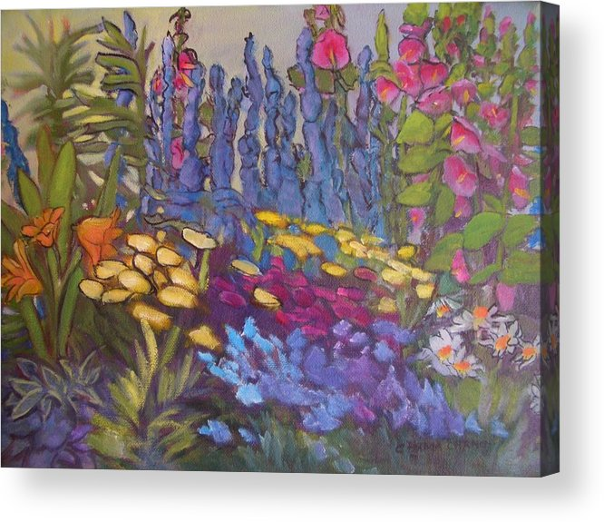 Oil Painting Acrylic Print featuring the painting Vic Park Garden by Carol Hama Chang