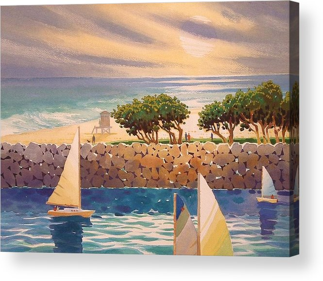 Seascape Acrylic Print featuring the painting View Across The Channel by Eve Thompson
