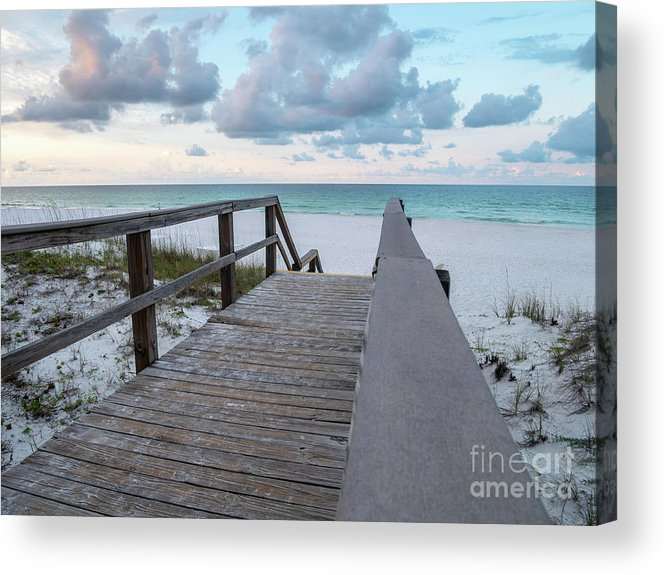 Bridge Acrylic Print featuring the photograph View Of White Sand And Blue Ocean From Wooden Boardwalk by PorqueNo Studios