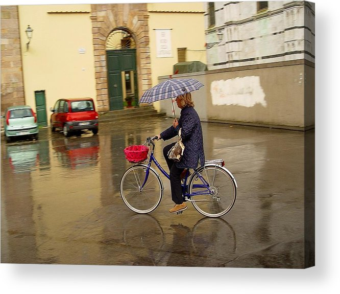Lady On Bicycle Acrylic Print featuring the photograph Visions Of Italy Lucca by Nancy Bradley