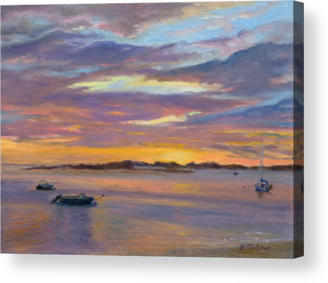 Landscape Acrylic Print featuring the painting Wades Beach Sunset by Phyllis Tarlow