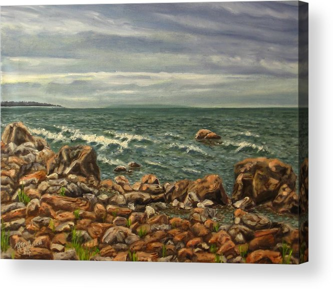 Sea Acrylic Print featuring the painting Waiting For A Rain by Maren Jeskanen