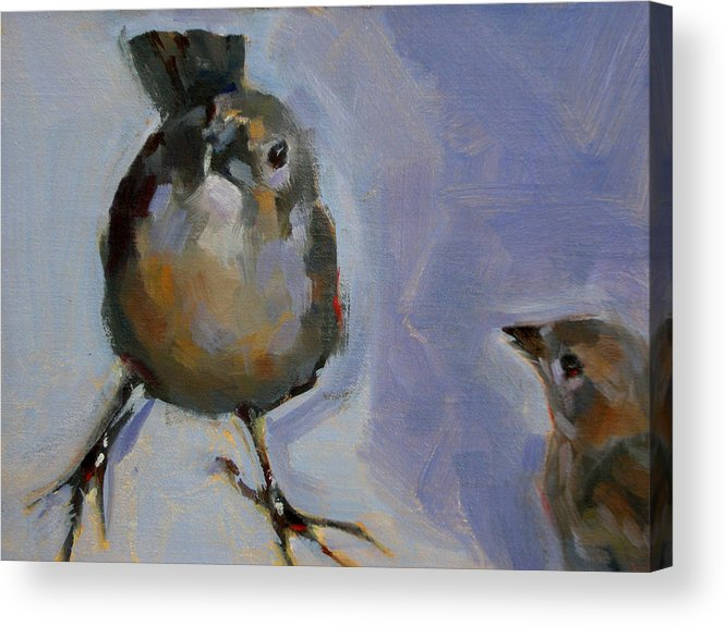 Birds Acrylic Print featuring the painting Waiting For Snacks by Merle Keller