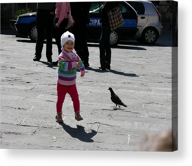 Child Acrylic Print featuring the photograph Walk Like A Pigeon by Thor Sigstedt