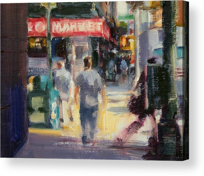 Cityscape Acrylic Print featuring the painting Walking In The West Village by Merle Keller