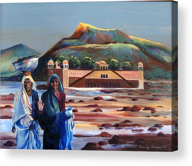 Water Palace Acrylic Print featuring the painting Water Palace In A Drought by Art Nomad Sandra Hansen