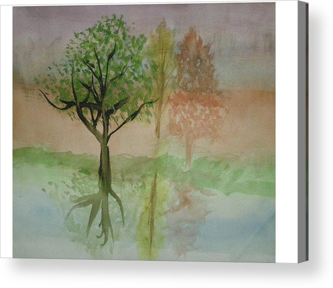 Landscape Acrylic Print featuring the painting Water Trees by Hal Newhouser
